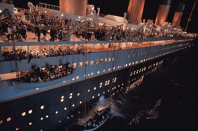 lifeboats and panic on the Titanic (from the film Titanic)