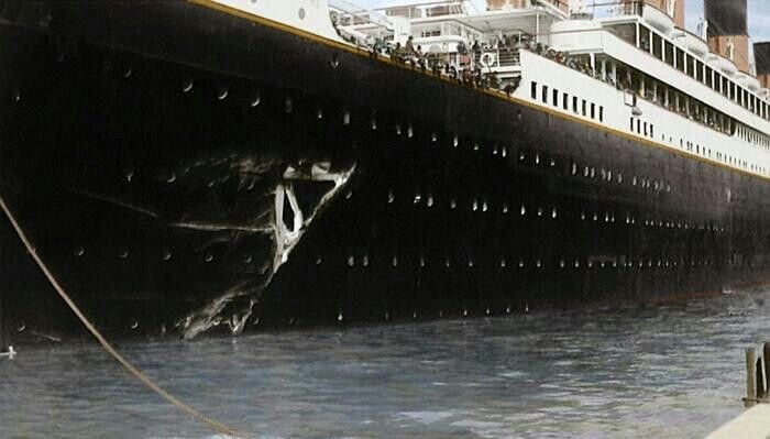 gaping hole in the side of the RMS Olympic