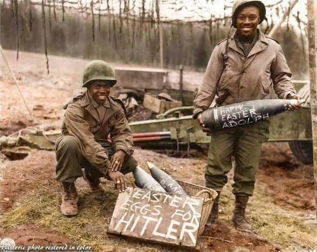 WWII, United States Army, Easter eggs for hitler, writing on bombs, black soldiers, segregation, artillery, Battle of the Bulge, 1944-1945, Thomas, Jackson