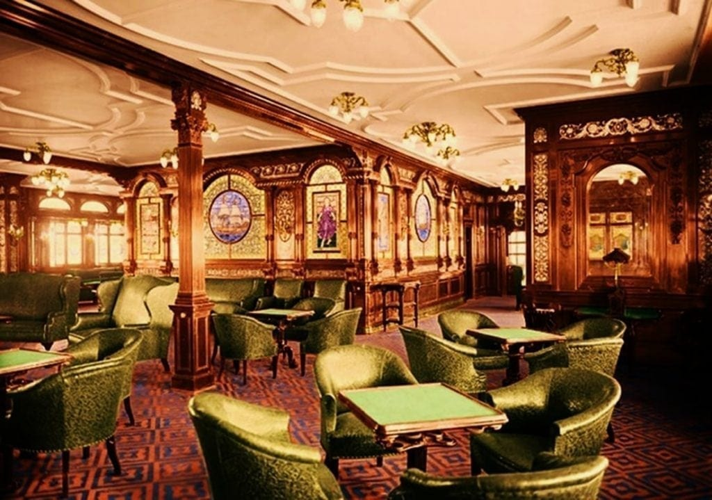 Luxury interior of a first class smoking lounge in the Titanic