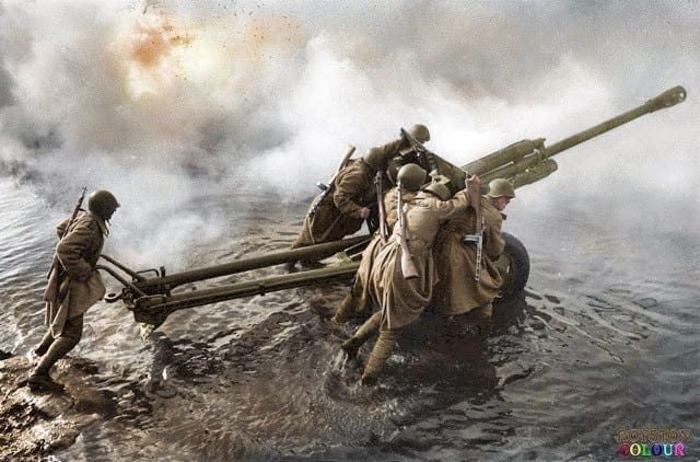 WWII, Soviet Union, Red Army, Artillery, 76mm divisional gun, industry, industrialization, oder river, germany,