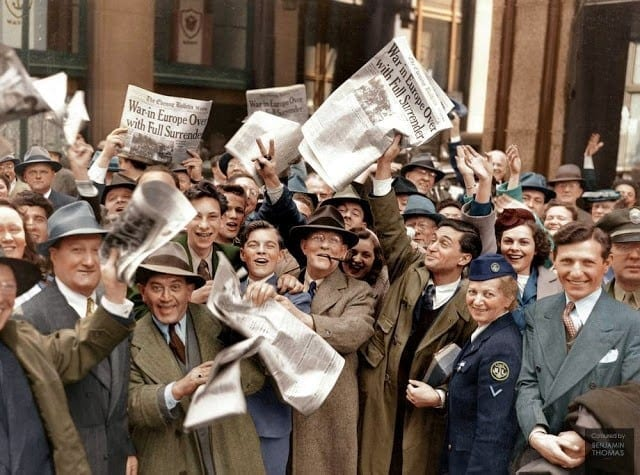 WWII, VE Day, Victory in Europe, May 8, 1945, London, Great Britain, United Kingdom, civilians