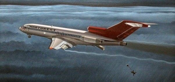 D. B. Cooper, hijack, hijacking, 727, Northwest Orient, paratrooper, intelligence operative, flight 305, Seattle WA, Portland OR, November 24 1972