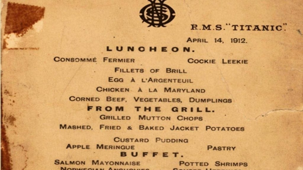 recovered lunch menu from the Titanic