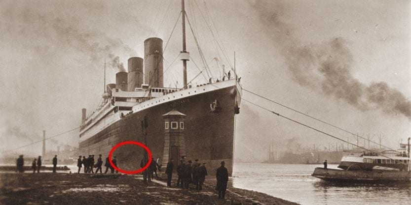 image of the Titanic from recovered photo album